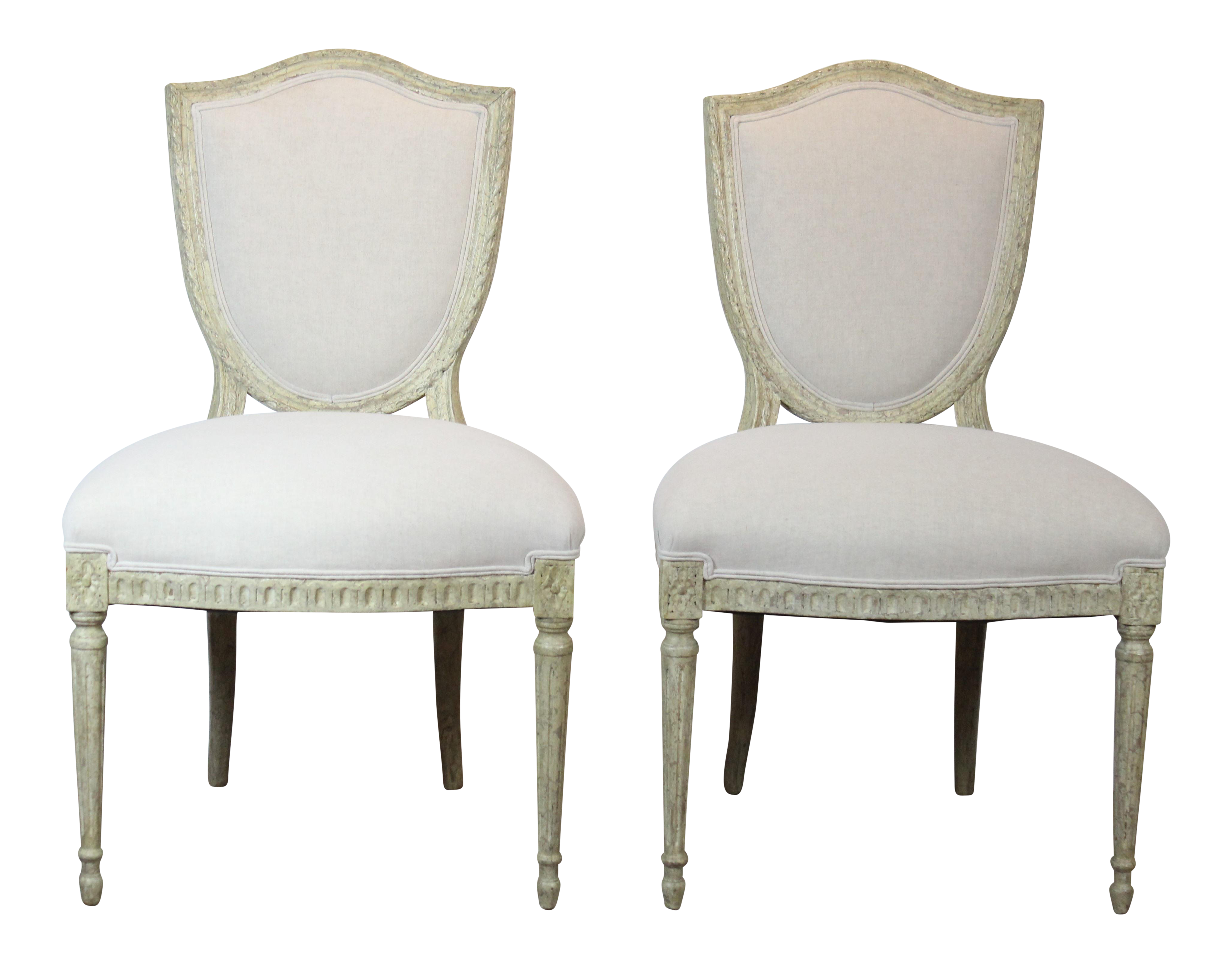 Genial 20th Century Louis XVI Style Off White Side Chairs   A Pair