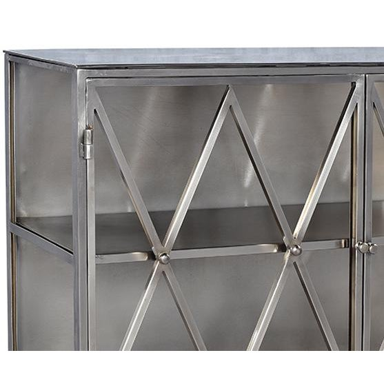 "Iron side display cabinet with a beautiful nickel finish and glass panel doors and sides. Each shelf height is 14.5""."