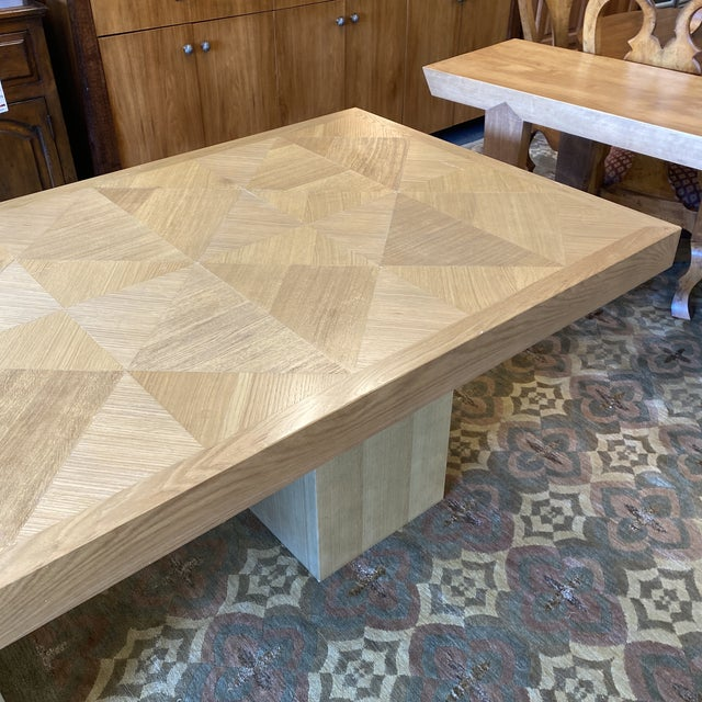 2010s Custom Modern Oak Inlay Dining Table For Sale - Image 5 of 13