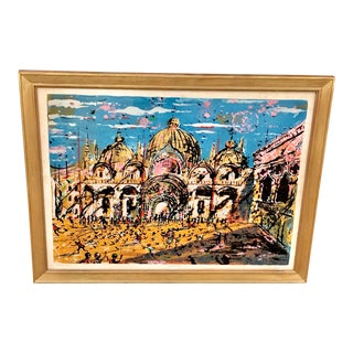 "Vintage ""Venice, Italy "" Signed Lithograph Print For Sale"