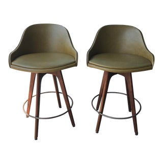 1950s Mid Century Modern Olive Green Swivel Bar Stools - a Pair