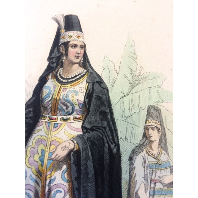 """Figurative 19th Century Century Antique French Original Engraving Historic Fashion Plate, Hand-Tinted - """"Femmes Arabes."""" For Sale - Image 3 of 11"""