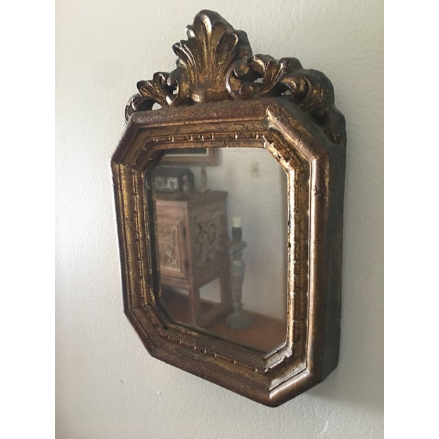 French Antique Small Decorative Gilt Mirror For Sale - Image 3 of 6