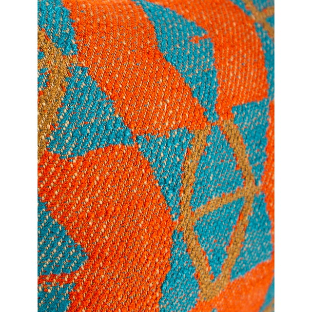 2010s Orange and Blue Triangles Pillow For Sale - Image 5 of 7