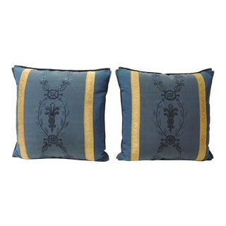 Pair of Royal Blue Embroidery Antique Textile Decorative Pillows For Sale