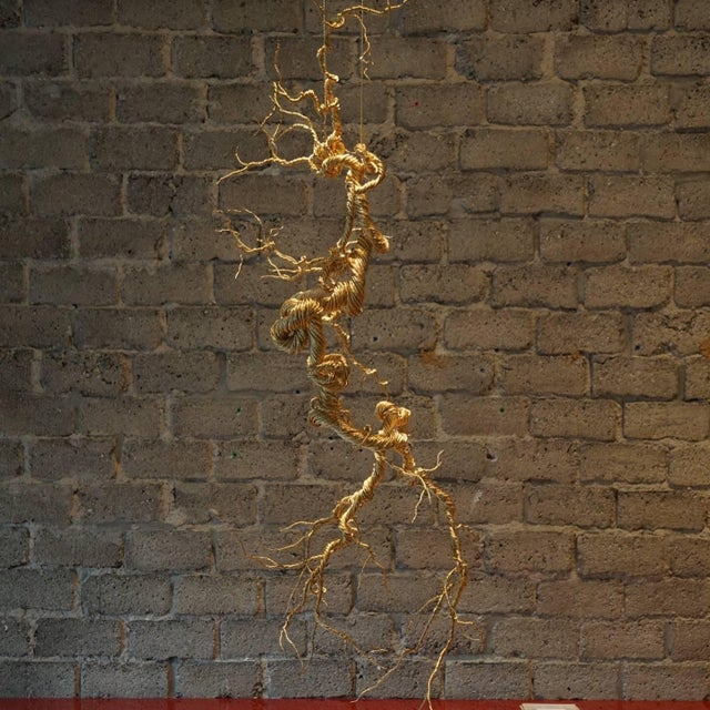 Untitled Twisted Brass Lit Sculpture - Image 5 of 7