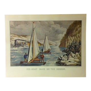 "Currier & Ives American Print, ""Ice Boat Race on the Hudson"" by Crown Publishers, Circa 1950 For Sale"