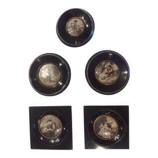 English Traditional Black and White Prints in Ebony/Lacquer Frames and Convex Glass - Set of 5 For Sale