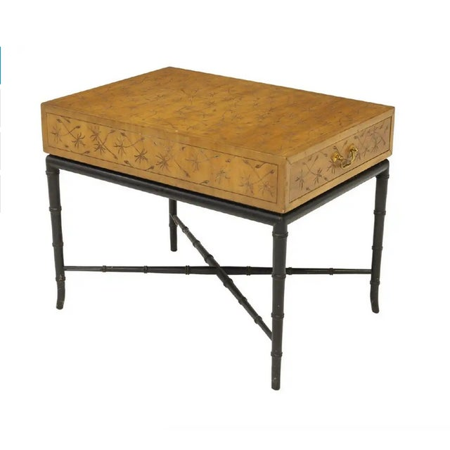 Kittinger Thistle Incised Faux Bamboo Side Table For Sale In Austin - Image 6 of 6