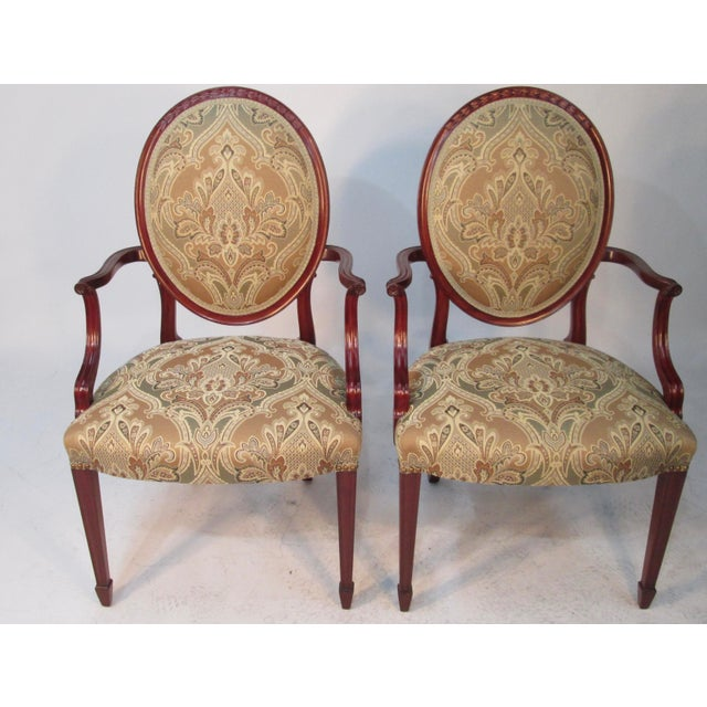 1940s Vintage Joseph Gerte of Boston Mahogany Arm Chairs - a Pair For Sale - Image 12 of 12