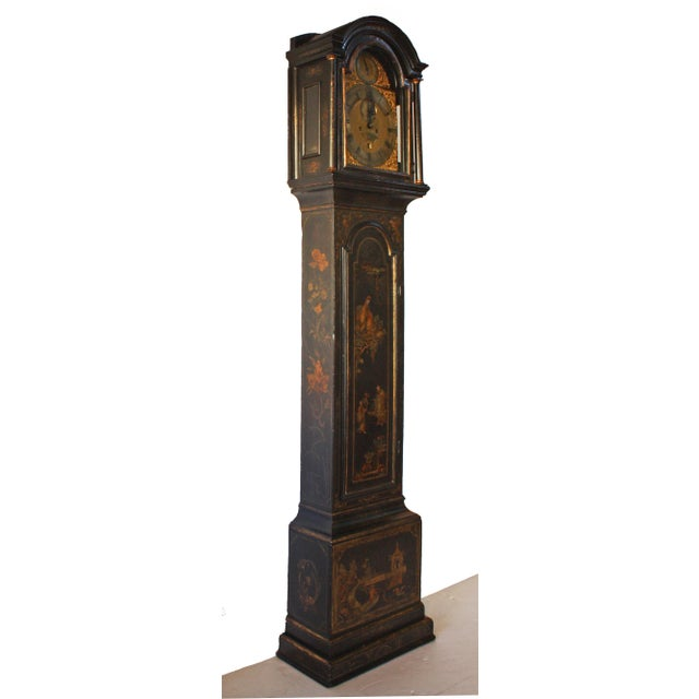 George II Japanned Chinoiserie Longcase Clock by John Crouch, Knightsbridge For Sale - Image 4 of 7