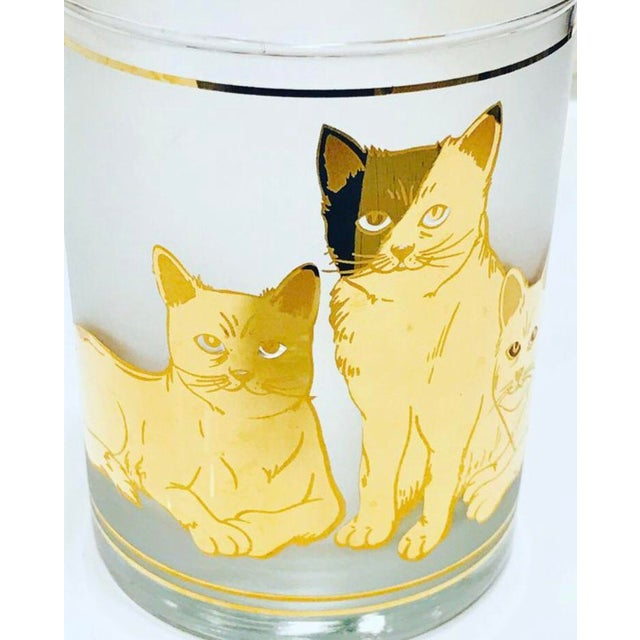 Mid-Century Modern Vintage Mid-Century Modern 22k Gold Cat Etched Culver Glasses - Set of 4 For Sale - Image 3 of 6