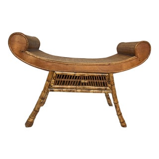 Mid Century Burnt Bamboo Rattan Scroll Arm Bench For Sale