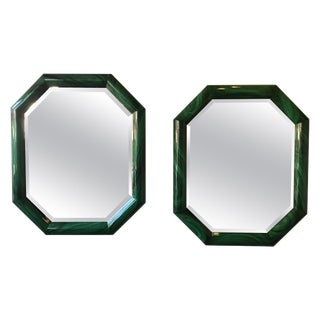 Large Pair of Italian 1970s Faux Malachite Beveled Mirrors For Sale