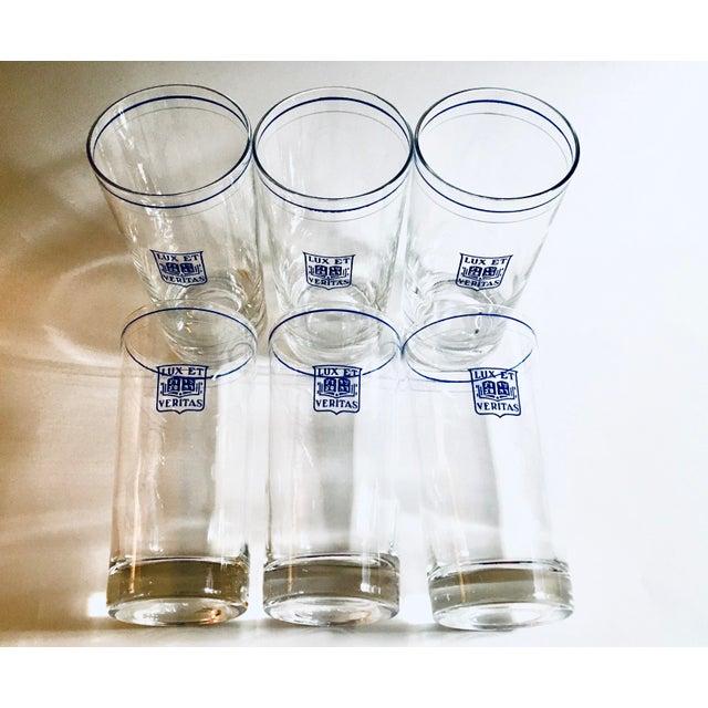 Vintage Yale Barware Yale Memorabilia Cocktail Glasses Lux Et Veritas Blue Shield, Set of 6 For Sale In New York - Image 6 of 7