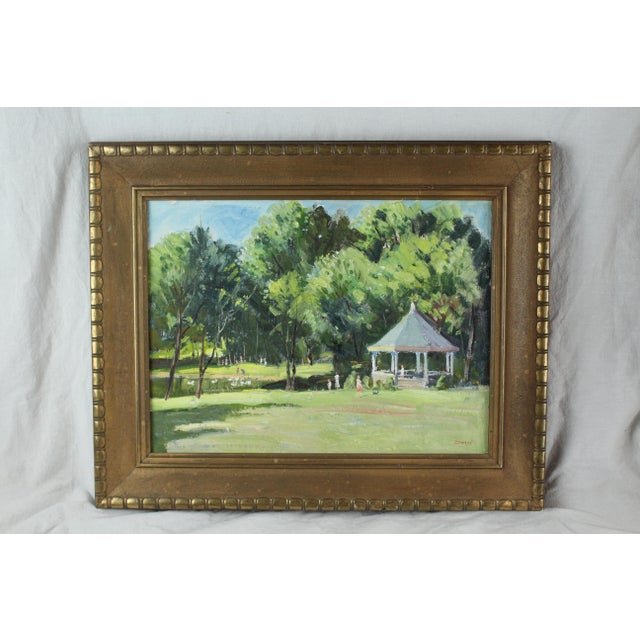 Vintage Mid Century Waterford Park Painting by Roger Dennis For Sale In New York - Image 6 of 6