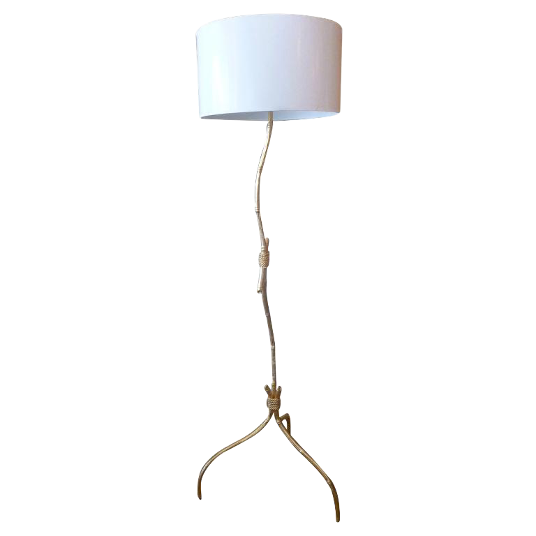 Gold Leaf Over Wood Knotched Bamboo U0026 Rope Floor Lamp