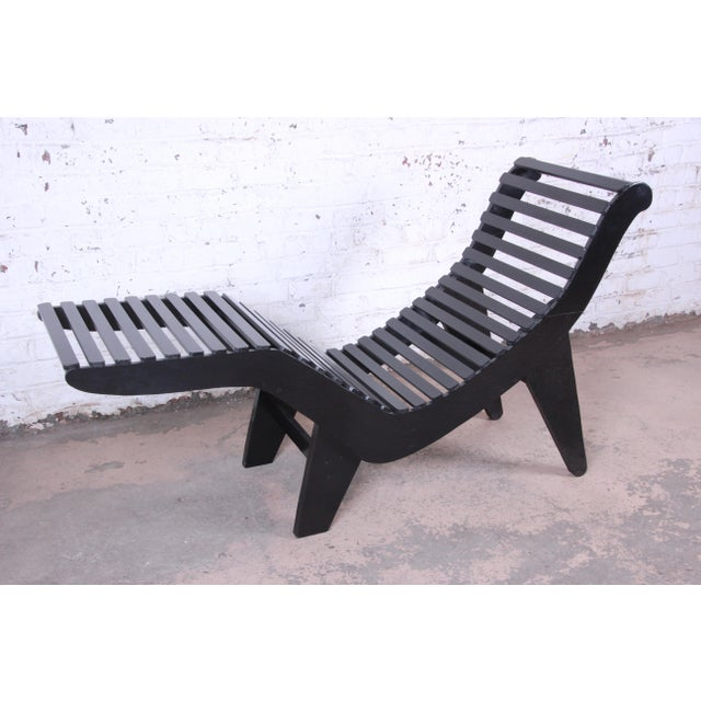 Industrial Klaus Grabe Contoured Chaise Lounge Chair, Newly Ebonized For Sale - Image 3 of 12