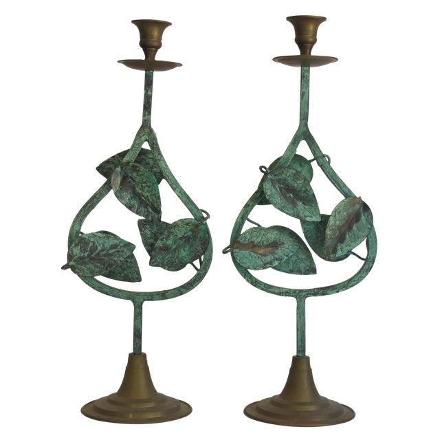 Verdigris Leaf Candleholders - Pair - Image 1 of 6