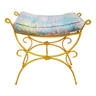 Mid-Century Wrought Iron Bench with Floral Cushion For Sale