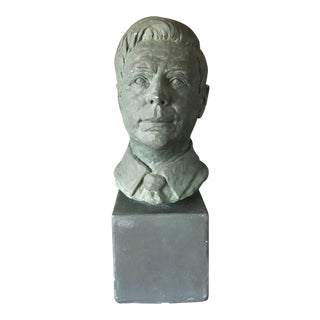 Vintage Plaster Bust on Stand For Sale