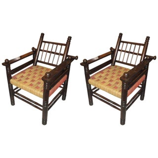 Unusual Pair of Spindle Back Armchairs With Woven Seats For Sale