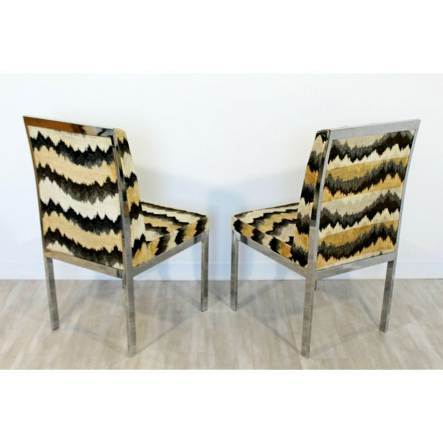 Mid Century Modern Set of 6 Milo Baughman Dia Chrome Side Dining Chairs 1970s For Sale - Image 4 of 5