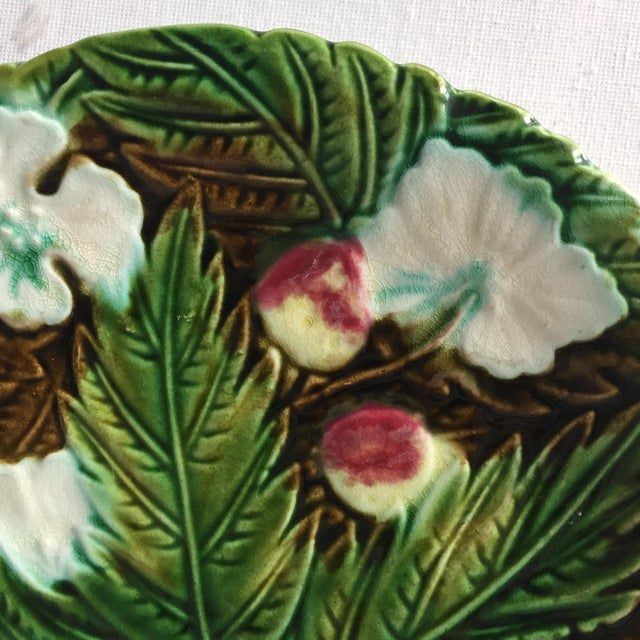White Antique French Orchies Majolica Strawberry Plates-Set 6 For Sale - Image 8 of 11