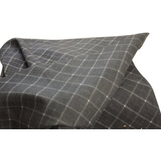 """Antique French Black Gray Plaid Flannel Brushed Cotton Fabric - 31"""" x 33"""" For Sale"""