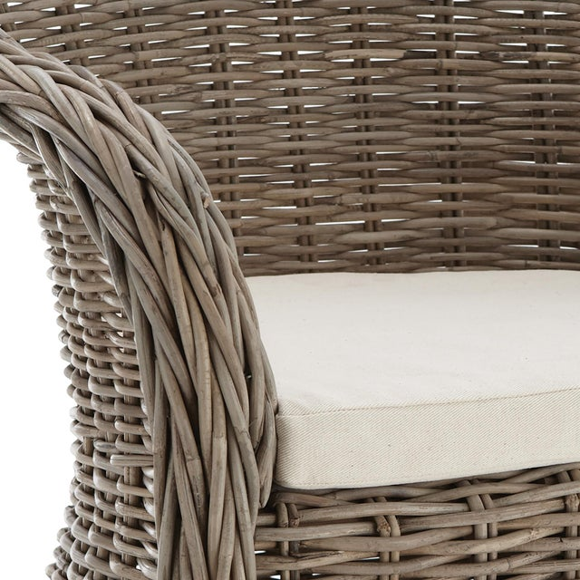 With a soft gray finish, the five-star quality of this hand-weaved rattan really shows through it is stunning lines....