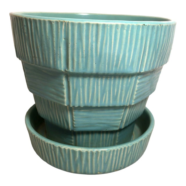 """McCoy Pottery 1940s - 1960s Large """"Teal Blue"""" Mid-Century Flowerpot and Saucer For Sale"""