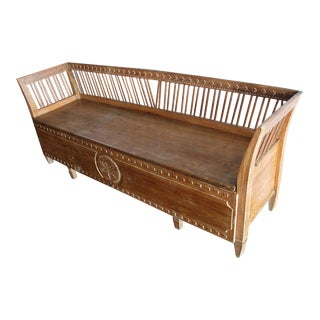 Antique Gustavian Period Swedish Bench With Storage For Sale