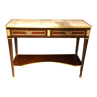 Jansen Style Two-Drawer Marble-Top Bronze Console or Serving Table For Sale