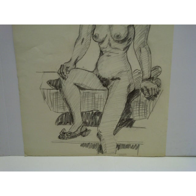"""Mid-Century Modern 1956 Mid-Century Modern Original Drawing on Paper, """"Nude With Pretty Shoe"""" by Tom Sturges Jr. For Sale - Image 3 of 5"""