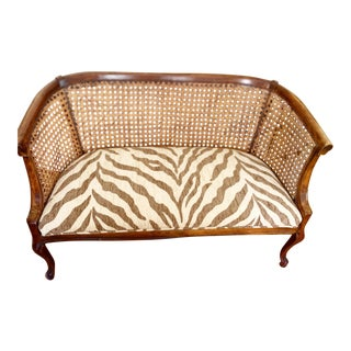 Midcentury Upholstered Cane Loveseat Bench For Sale