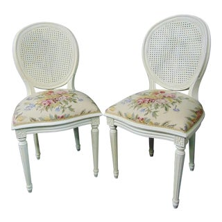 Louis XVI Style Cream Caned Needlepoint Side Chairs - a Pair For Sale