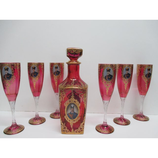 Antique Bohemian Flue Glasses With Shah of Persia and Decanter set Hand blown glasses made for the Persian market in the...