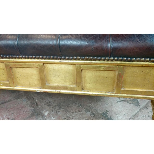 Gold French Empire Beautiful Tufted Leather Window Bench For Sale - Image 8 of 10