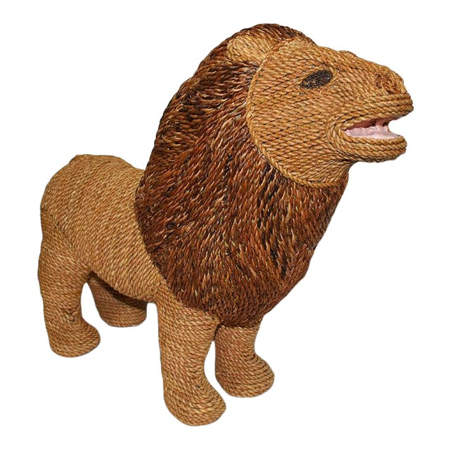 Mario Torres Lopez Style Wicker Raffia Lion Animal For Sale