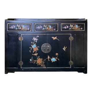 Chinese Black Vinyl Color Flower Birds Cabinet Sideboard Credenza For Sale