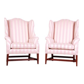 Baker Furniture Wingback Lounge Chairs - a Pair For Sale