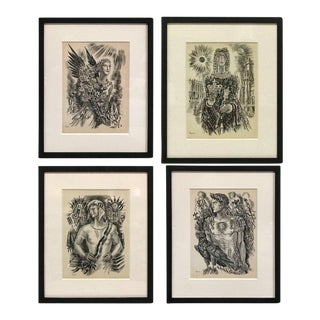 Set of Four Burin Engravings by Albert Decaris For Sale
