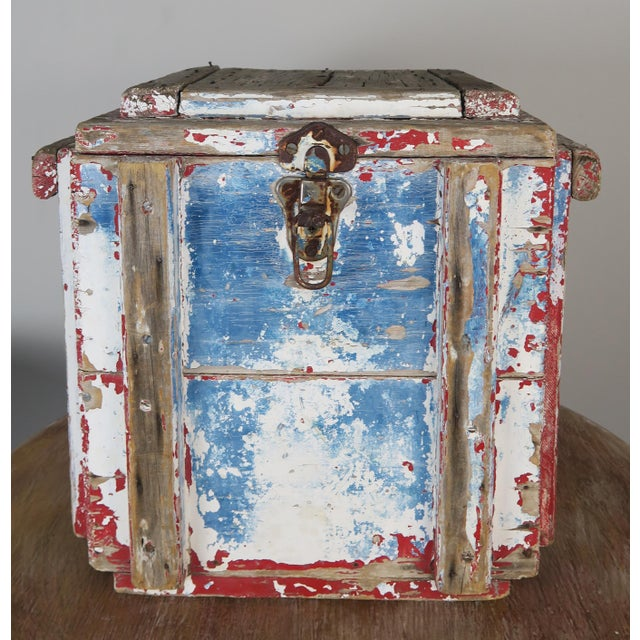 19th century American red, white & blue painted work box with metal clasp. Beautiful worn distressed paint with areas of...