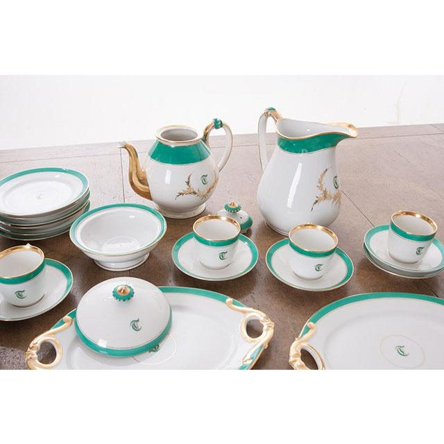 """Ceramic French 19th Century Old Paris """"T"""" Dessert Service - Set of 33 Pieces For Sale - Image 7 of 10"""