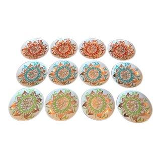 Arcadia Studio 24k Gold Dessert/Salad Sunflower Plates Orange/Blue/Green - Set of 12 For Sale