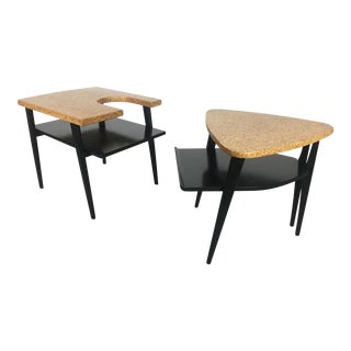 1950s Mid-Century Modern Paul Frankl Cork Top Side Tables - a Pair For Sale