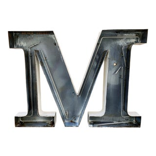 Jumbo Mid Century Channel Letter M Architectural Salvage Wall Sign For Sale