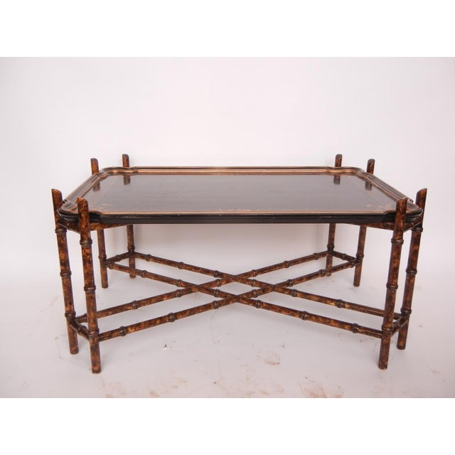 Vintage Baker Faux Bamboo Coffee Table with laquered tray. This piece would look great in a chippendale style home.
