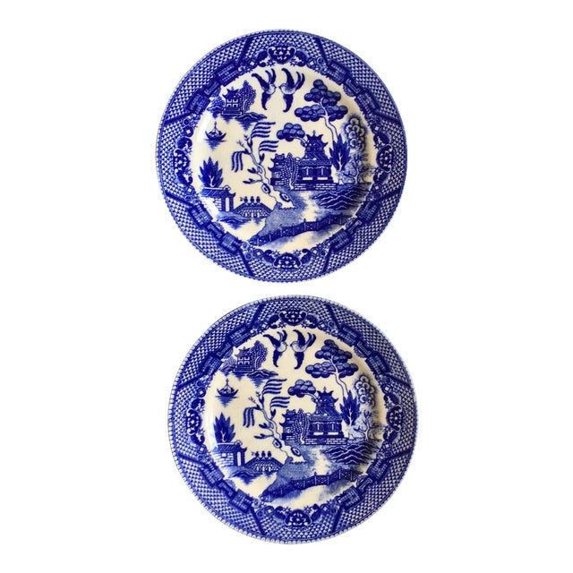 """Antique """"Blue Willow"""" Pattern Plates - A Pair - Image 1 of 6"""