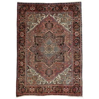 1960s Traditional Persian Heriz Rug With Manor House Style For Sale